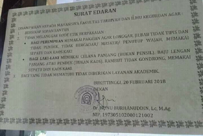 Edaran yang berisikan imbauan bagi civitas akademika IAIN Bukittinggi untuk tidak mengenakan cadar.