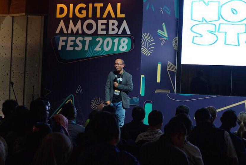 Executive General Manager (EGM) Divisi Digital Service Telkom Indonesia, Arief Musta'in, di sela-sela Digital Amoeba Festival 2 di Telkom Landmark Tower, Jakarta, Rabu (28/2) lalu.