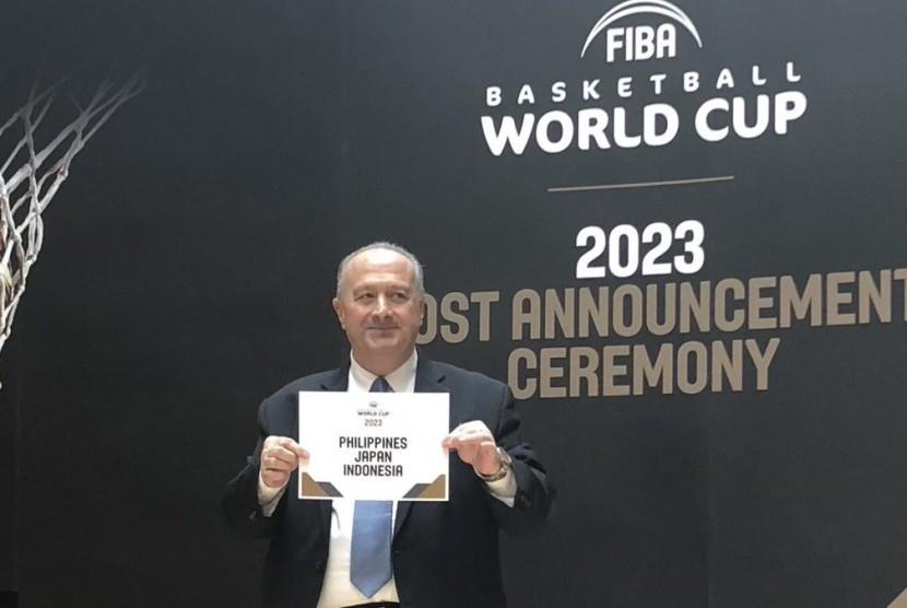 FIBA mengumumkan Indonesia bersama Filipina dan Jepang terpilih sebagai tuan rumah Piala Dunia FIBA 2023 di Jenewa, Swis, Sabtu (9/12).