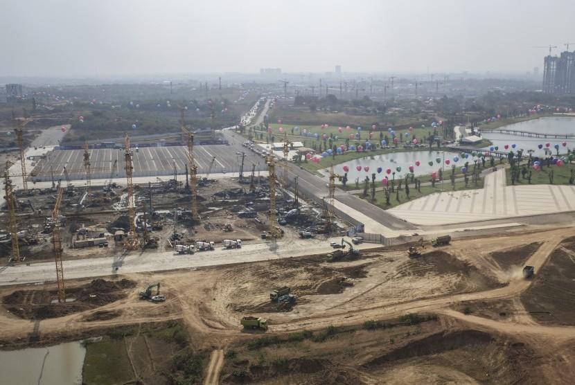 Foto aerial pembangungan proyek kawasan Meikarta di Cikarang, Bekasi, Jawa Barat, Kamis (14/9).