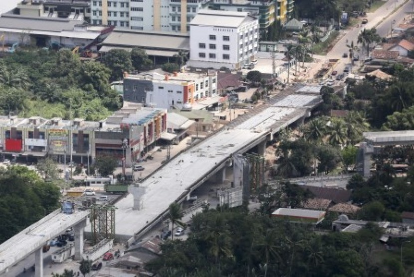 Areal view of LRT project in Palembang.