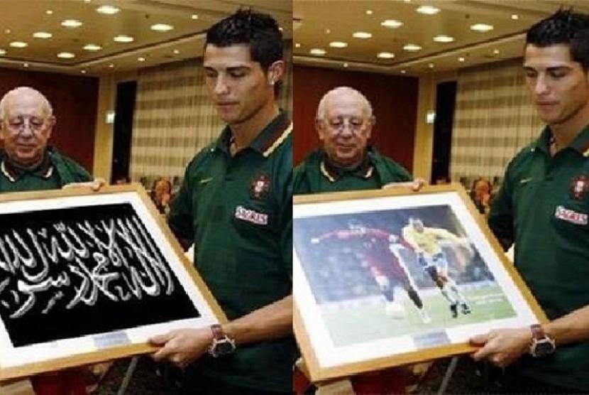 Foto Cristiano Ronaldo sedang memegang bingkai yang berisi gambar bertuliskan dua kalimat syahadat (kiri), dan foto asli Ronaldo sedang memegang gambar dirinya saat membela Timnas Portugal (kanan).