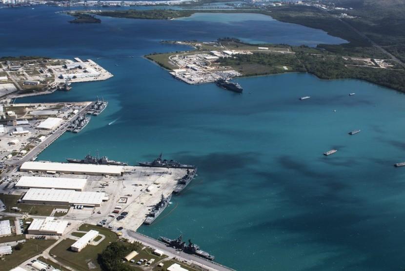 Foto udara pangkalan militer di Guam, Amerika Serikat.