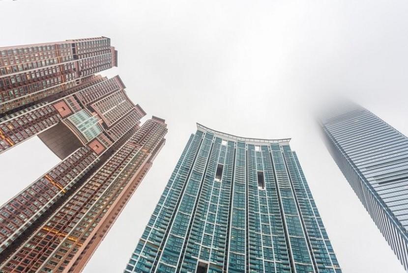 Gedung-gedung pencakar langit di Hong Kong. ilustrasi