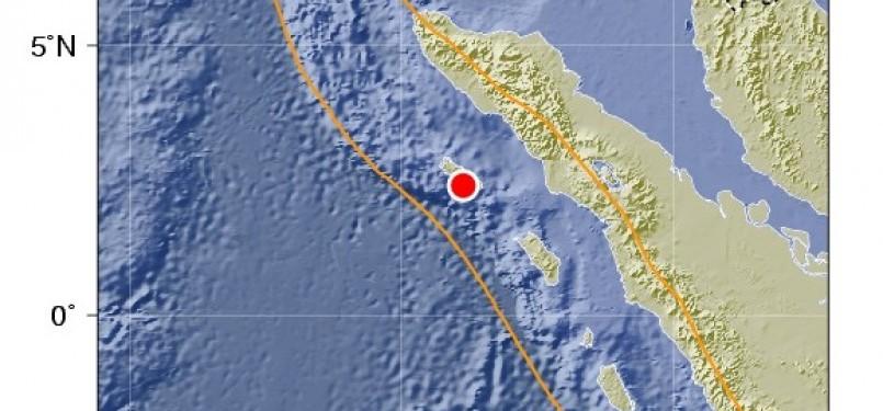 Gempa 5,8 SR yang mengguncang perairan Timur Pulau Simeulue, Aceh, Senin (17/10) dini hari