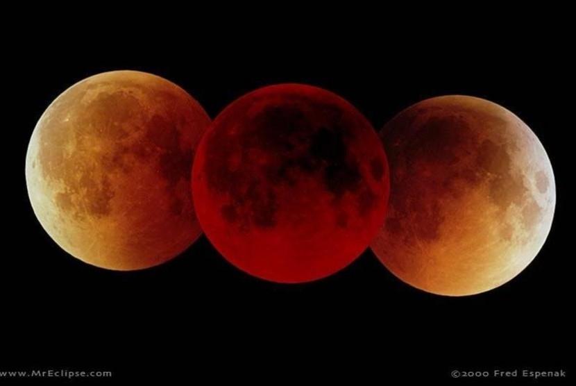 Gerhana Bulan Total atau Super Blue Blood Moon. Ilustrasi