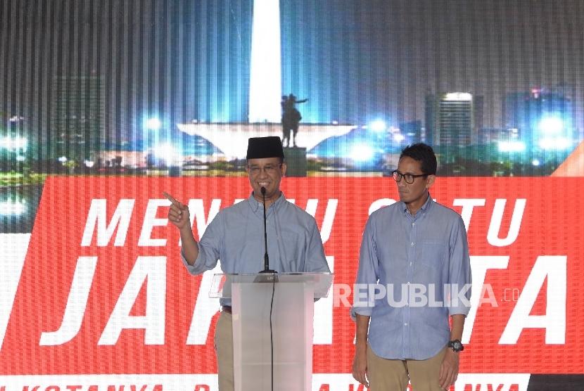 Gubernur dan Wakil Gubernur terpilih DKI Jakarta, Anies Baswedan dan Sandiaga Uno.
