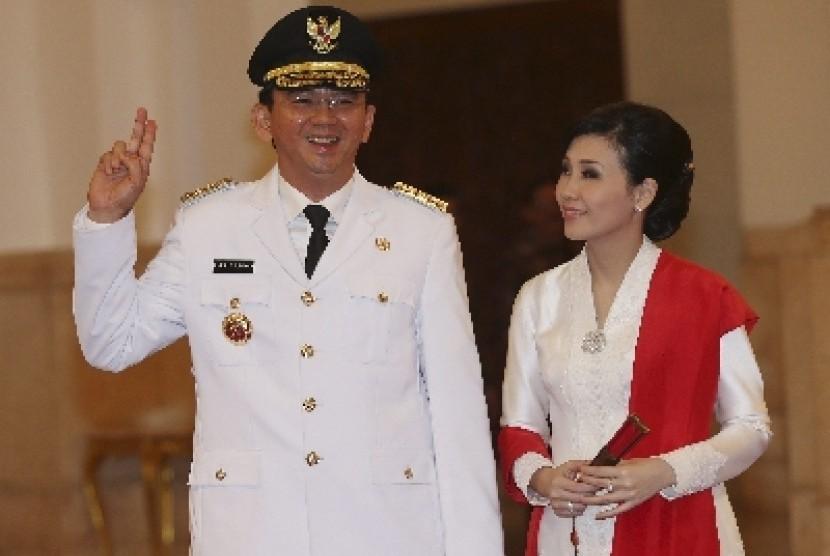 Gubernur DKI Jakarta, Basuki Tjahaja Purnama, dan istrinya, Veronica Tan.