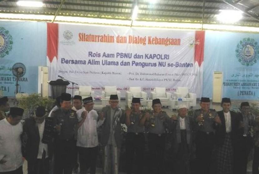 Halaqah Ulama NU se-Banten bersama Kapolri Tito Karnavian di Pesantren Annawawiyah, Tanara Banten, Rabu (8/7)