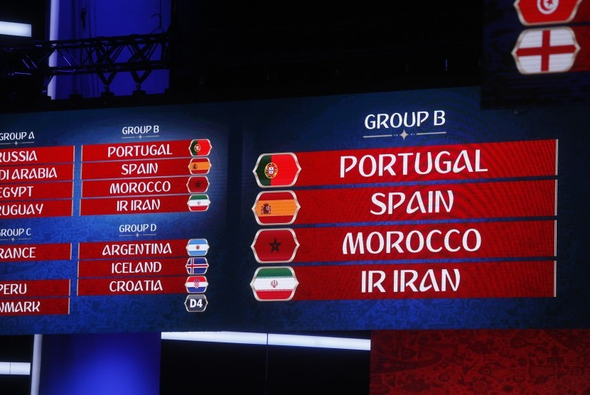Hasil undian grup putaran final Piala Dunia 2018, di Zurich, Swiss, Jumat (1/12), menempatkan Spanyol dan Portugal satu grup.