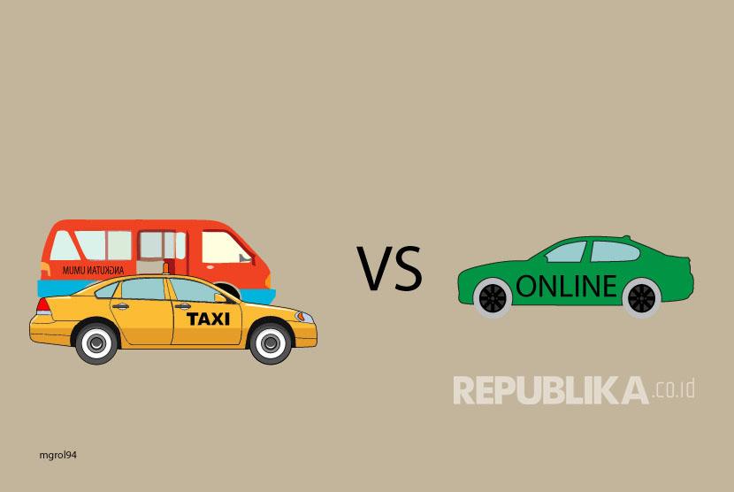 Ilustrasi Bentrok Angkot ,Taksi dengan Taksi Online