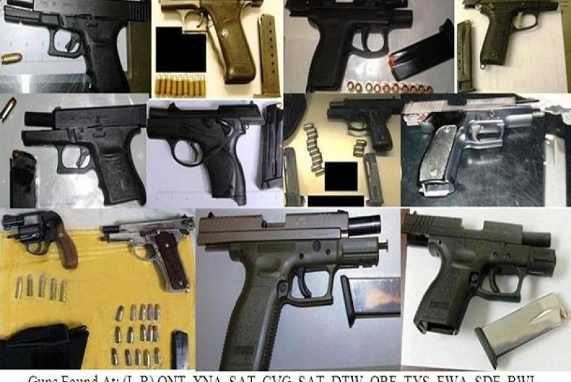 Ilustrasi berbagai jenis senjata api