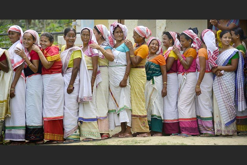Ilustrasi kaum perempuan India.