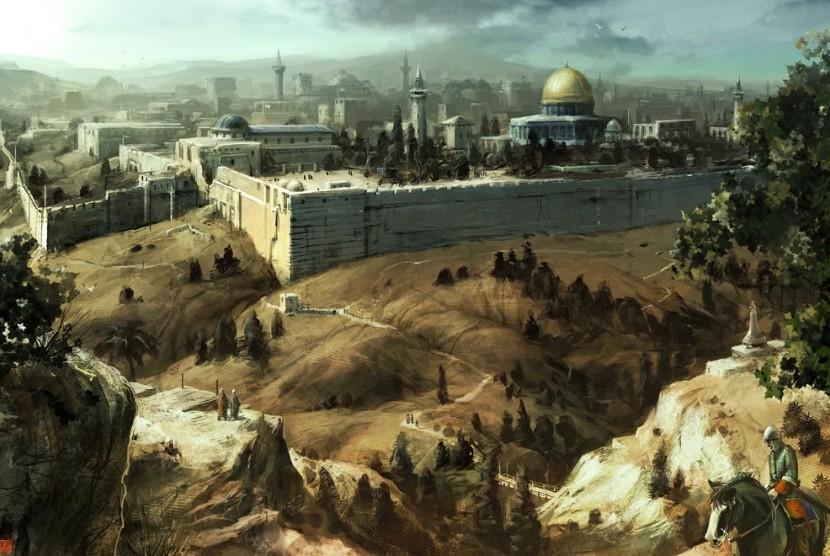 Ilustrasi Kota Yerusalem dalam sebuah lukisan.