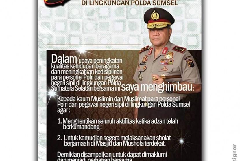 Imbauan Kapolda Sumsel Irjen Iza Fadri.