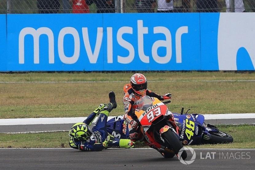 Insiden Rossi dengan Marquez saat MotoGP Argentina