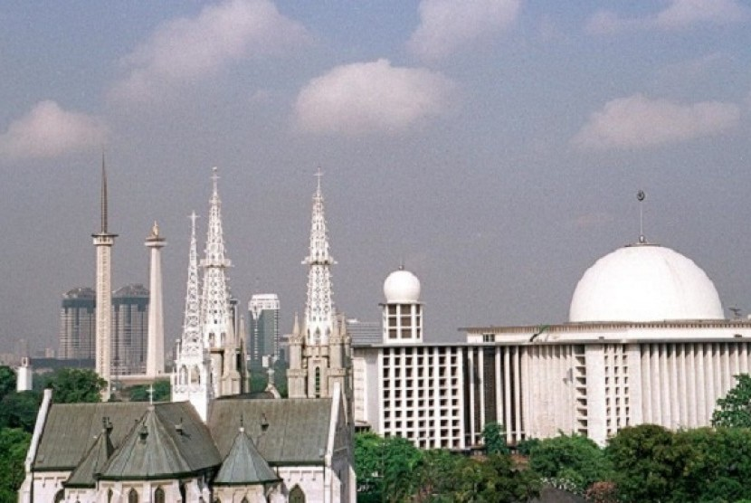 Istiqlal Mosque and Cathedral Church located close each other as a symbol of harmony in the most populous Muslim country.