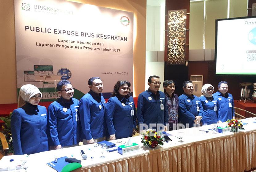 Jajaran Direksi BPJS Kesehatan menggelar Public Expose di Kantor Pusat BPJS Kesehatan, Jakarta, Rabu, (16/5).