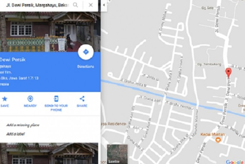 The public noticed Google Maps has changed Dewi Sartika street in Bekasi, West Java to Dewi Persik street since July 31.