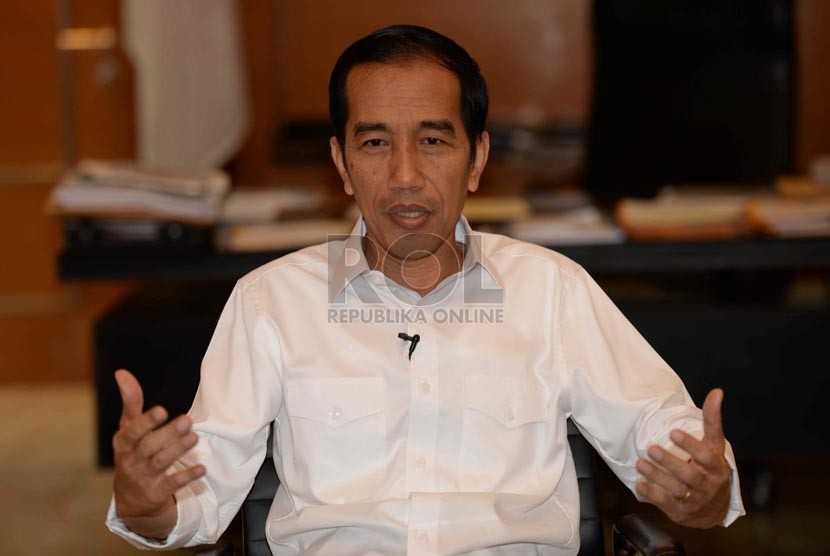 Jokowi (Joko Widodo) di Balai Kota, Jakarta, Rabu (3/9). (Republika/ Wihdan)