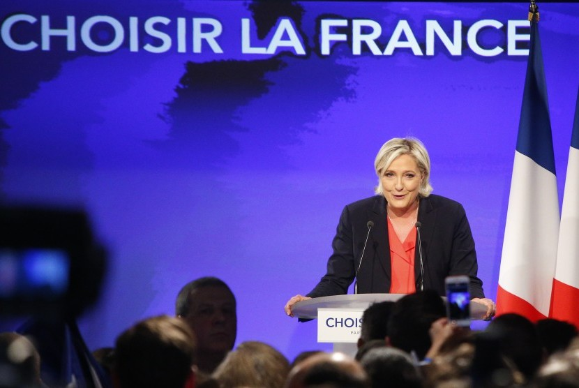 Kandidat Presiden Prancis dari Partai Front Nasional Marine Le Pen.