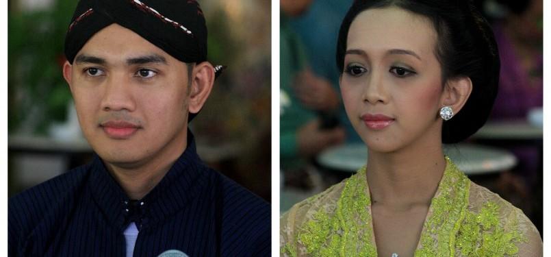 Kanjeng Pangeran Harya (KPH) Yodanegara. SE. Msi (kanan) dan Gusti Kanjeng Ratu (GKR) Bendara. BA (kiri) sesaat setelah mengikuti prosesi wisuda calon menantu Kraton Yogyakarta di komplek Kraton Yogyakarta, Minggu (3/7). Pernikahan antara Kanjeng Pangeran