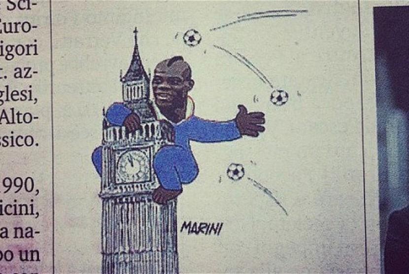 Kartun Balotelli di harian La Gazetta dello Sport