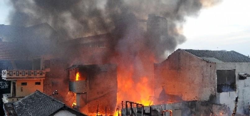 Kebakaran di pemukiman padat/Ilustrasi