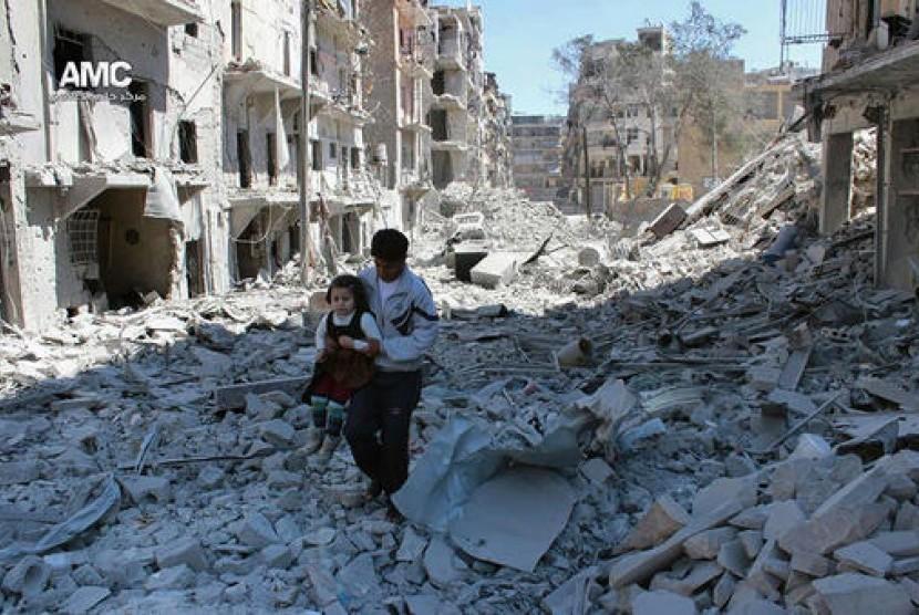 Kehancuran di Aleppo, Suriah.