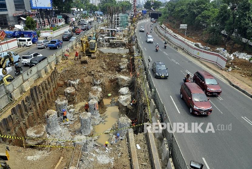 Construction of light rail transit (LRT) at MT Haryono Street, Cawang, Jakarta, (August 23).