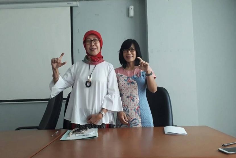 Kepala Bidang P2P Dinkes DKI Jakarta dr. Widyastuti, MKM (kiri) dan Head of Nutrifood Research Center Susana.