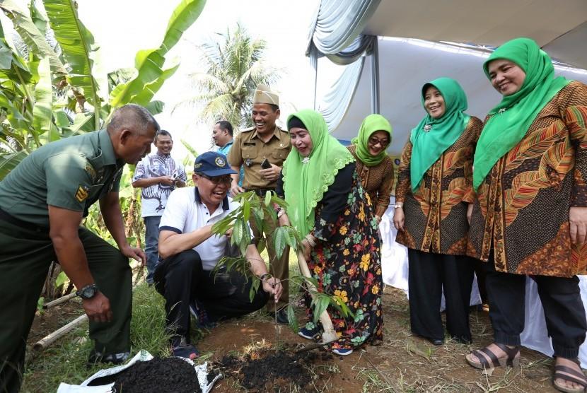 Ketua Agrianita Institut Pertanian Bogor (IPB), Hj  Enny H. Suhardiyanto SE secara simbolis melakukan penanaman 50 pohon pala.