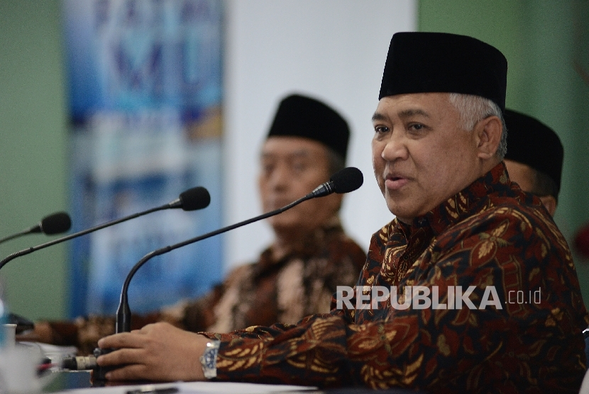 Ketua Dewan Pertimbangan MUI Din Syamsuddin memberikan pemaparan saat memimpin rapat pleno ke-15 Dewan Pertimbangan MUI di Jakarta, Rabu (22/2).