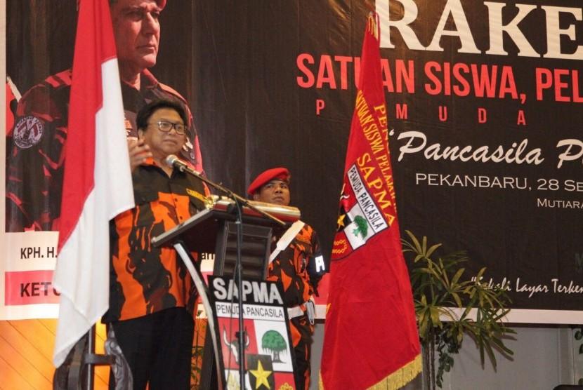 Ketua Dewan Perwakilan Daerah Republik Indonesia (DPD RI) Oesman Sapta membuka Rakernas I Satuan Siswa, Pelajar dan Mahasiswa (Sapma) Pemuda Pancasila (PP) di Pekanbaru, Riau, Kamis (28/9).