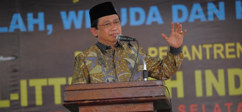 Ketua DPR Marzuki Alie memberikan sambutan di acara Wisuda dan HUT ke-44 Pondok Pesantren Al-Ittifaqiyah Indralaya, Kabupaten Ogan Ilir, Sumatera Selatan, Selasa (28/6).