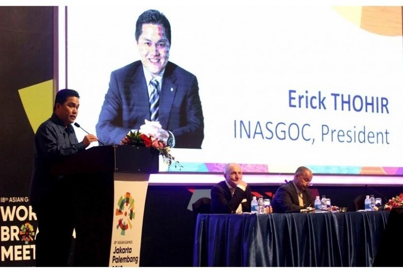 Ketua INASGOC, Erick Thohir saat memberikan sambutan dalam acara World Broadcasting Meeting (WBM) Asian Games 2018 di Jakarta, Selasa (14/11).