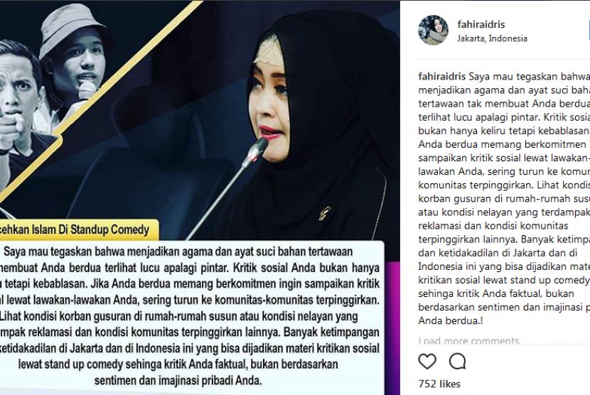 Ketua Komite III DPD RI, Fahira Idris mengkritik Ge Pamungkas dan Joshua yang menjadikan agama sebagai bahan lawakan di akun Instagram pribadinya, Jumat (12/1).