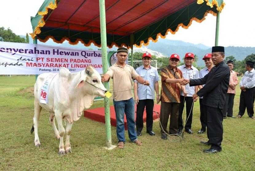 Ketua Umum Baznas Pusat Bambang Sudibyo menyerahkan sapi kurban dari PT Semen Padang secara simbolis kepada Ketua KAN Lubukkilangan Padang, di Lapangan Cubadak Indarung, Rabu (30/8). Pada tahun ini Semen Padang membagikan sebanyak 54 sapi kurban kepada masyarakat.