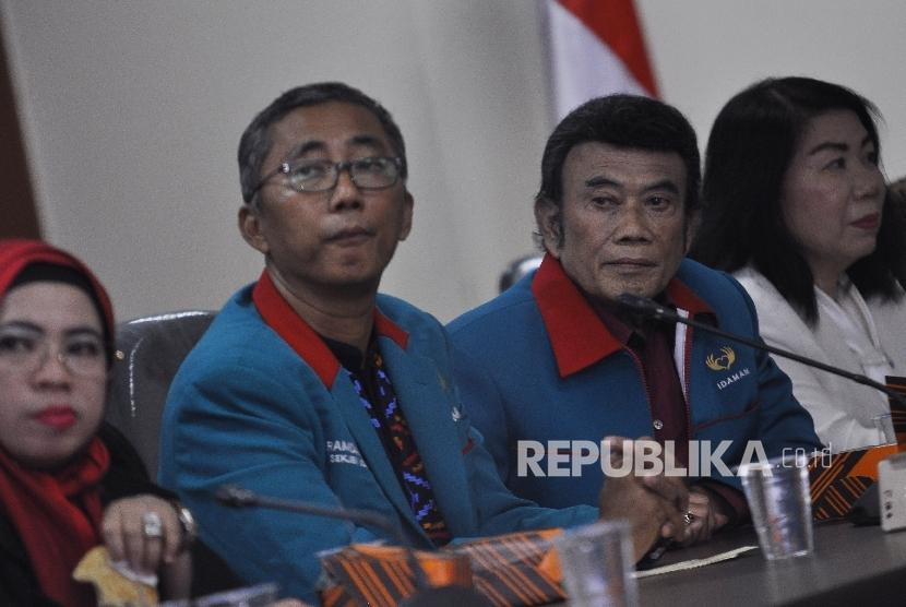 Ketua Umum Partai Idaman, Rhoma Irama didampingi Sekjen Partai Idaman, Ramdansyah (ilustrasi)