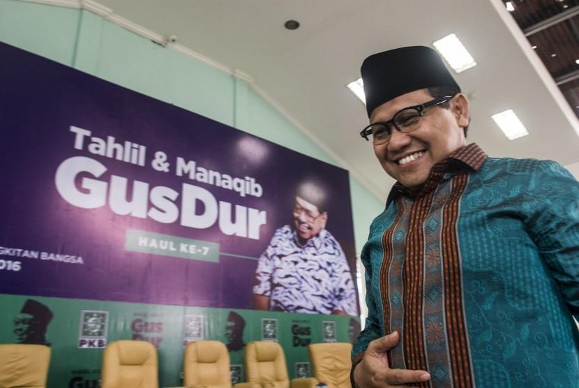 Ketua Umum PKB Muhaimin Iskandar menghadiri Tahlil dan Manaqib Haul ke-7 Abdurrahman Wahid atau Gus Dur di Kantor DPP PKB, Jakarta, Selasa (27/12).