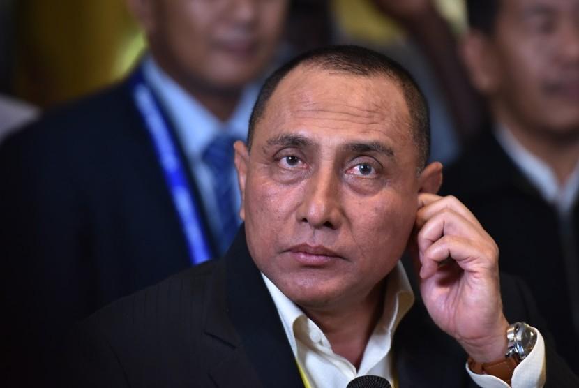 Ketua Umum PSSI terpilih Edy Rahmayadi disela Kongres PSSI di Jakarta, Kamis (10/11).