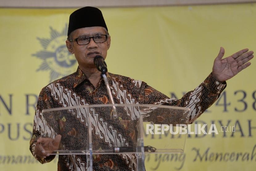 Ketum PP Muhammadiyah Haedar Nashir memberikan Pengkajian Ramadhan 1438 H PP Muhammadiyah di kampus UMJ, Jakarta, Senin (5/6).