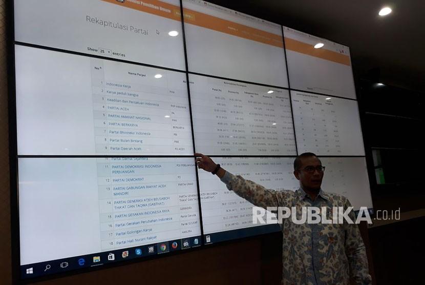 Komisioner KPU, Hasyim Asy'ari, menjelaskan status sipol dari 27 parpol yang telah mendaftar Pemilu 2019, di KPU, Rabu (18/10) sore. Berdasarkan rangkuman data sipol terakhir pada Rabu sore, sebanyak 13 parpol tidak diterima pendaftarannya oleh KPU.