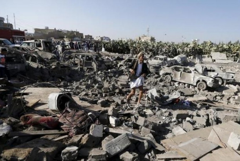 Kondisi wilayah di Sanaa, Yaman, akibat perang antara milisi Houthi dan pendukung Presiden Abd-Rabbu Mansour Hadi.