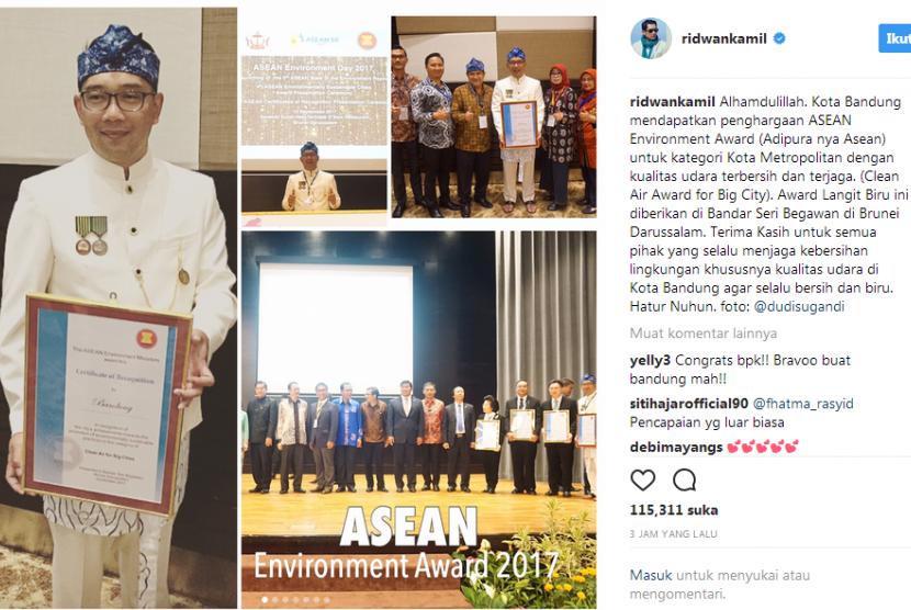 Kota Bandung meraih predikat Udara Terbersih untuk kategori Kota Besar dari ASEAN. Penghargaan ini diberikan dalam acara The 4th ASEAN Environmentally Cities Award di Bandar Seri Begawan Brunei Darussalam yang diterima langsung oleh Wali Kota Bandung Ridwan Kamil, Selasa (12/9) malam.