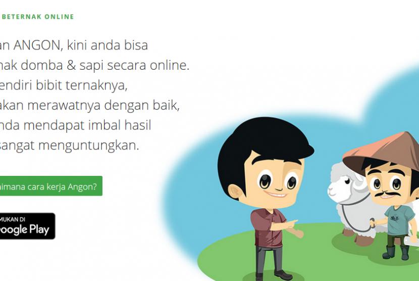 Laman aplikasi beternak online, Angon.