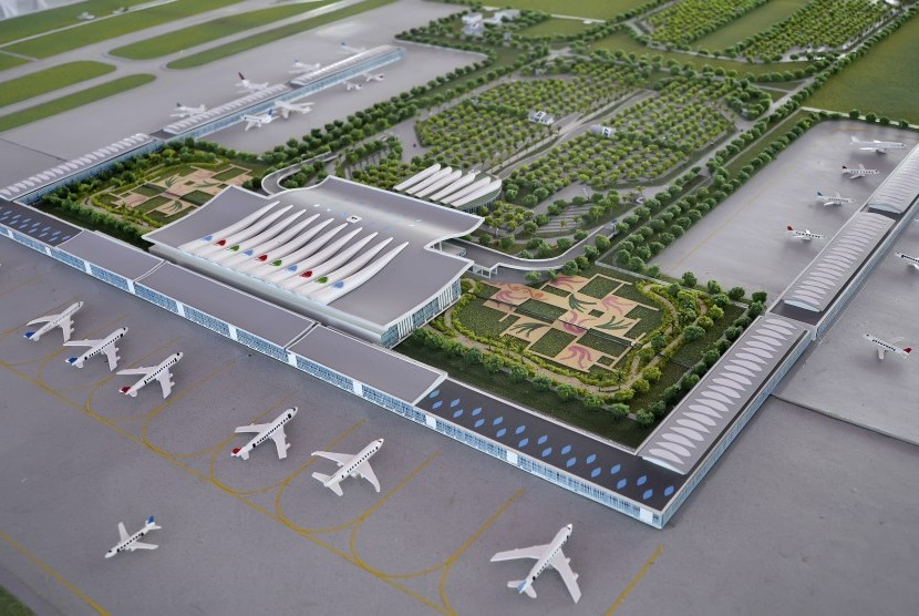 Landscape model of Kertajati International Airport development project in Majalengka Regency, West Java.