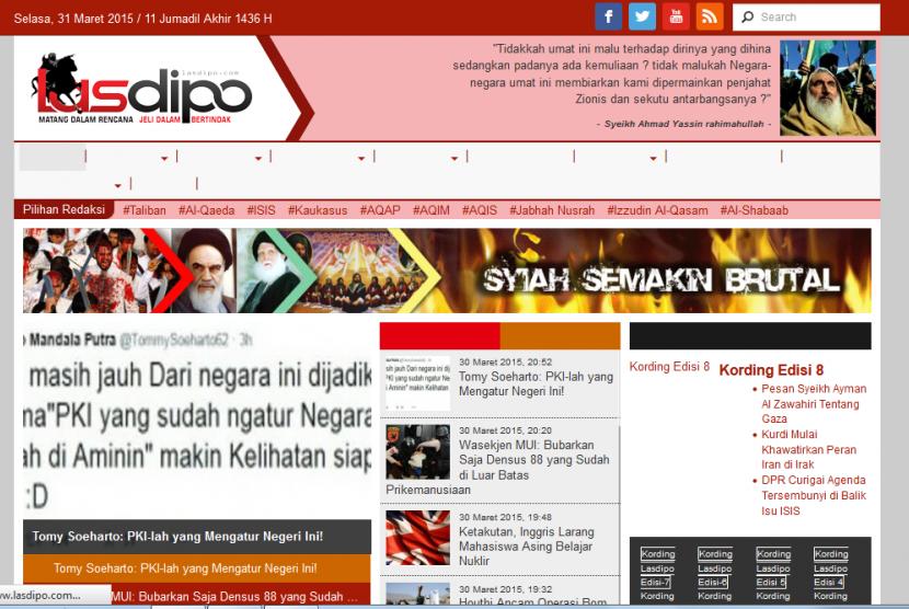 Lasdipo.com, salah satu situs yang dianggap memuat Islam radikal versi BNPT.