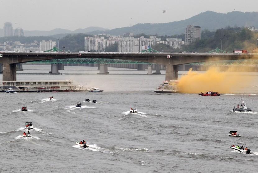 Latihan antiterorisme di Sungai Han. (Ilustrasi)
