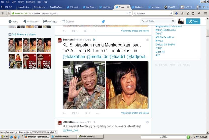 Lelucon Menteri Tedjo di akun twitter